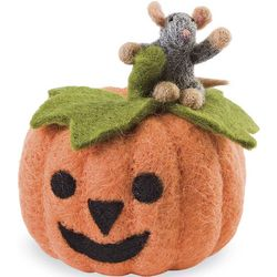Wool Felt Mouse and Pumpkin Set