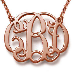 Celebrity Monogram Necklace in 18 Karat Rose Gold Plating