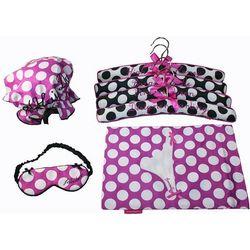 Polk Dot Hangers, Shower Cap, Eye Mask, and Lingerie Bag
