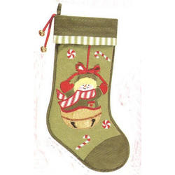 Quilted Snowman Green Christmas Stocking with Candy Canes
