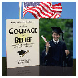 Courage and Belief Personalized Photo Bi-Fold Plaque