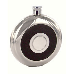 Personalized Round Black Leather Flask with Shot Glass