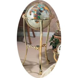 "Mother of Pearl Gemstone 13"" Globe with Brass Floor Stand"