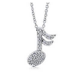 Sterling Silver Cubic Zirconia Music Note Necklace
