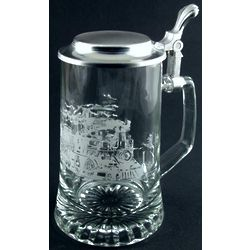 Engravable Train Glass Stein