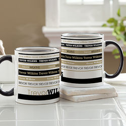 Signature Stripe Personalized Black Handle Mug