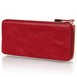 Lady's Dyed Italian Leather Zippered Wallet