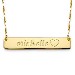 Personalized Icon Gold-Plated Bar Necklace