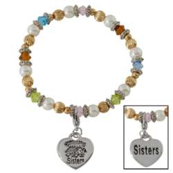 Silvertone Sisters Embrace Beaded Stretch Bracelet