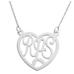 Sterling Silver Monogram Heart Necklace