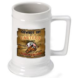 Personalized Cowboy Saloon Beer Stein