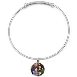 Round Silver Diamond Cut Custom Photo Charm Bangle Bracelet