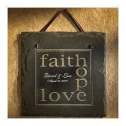Personalized Faith, Hope, Love Wedding Slate
