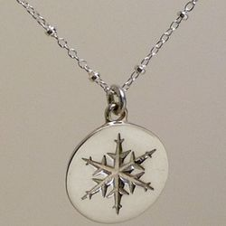 Sterling Silver Snowflake Button Pendant