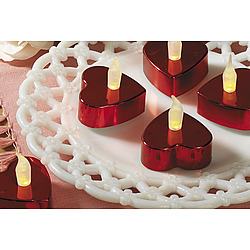 Heart-Shaped Red Metallic Battery Operated Tealight Candles