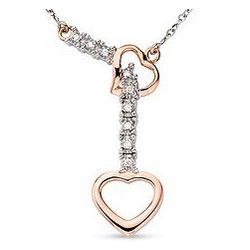14K White and Pink Gold Diamond Heart Necklace