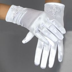 First Communion Satin Glove with Venise Cross