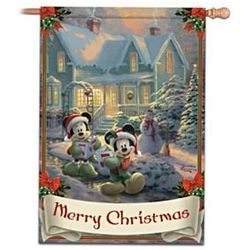 Mickey and Minnie Mouse Merry Christmas Decorative Flag