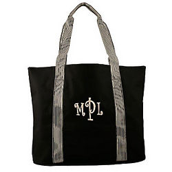 Personalized Black Striped Handles Tote