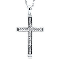 Sterling Silver Cubic Zirconia Religious Cross Necklace