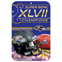 Baltimore Ravens Super Bowl XLVII Champions Locker Room Sign