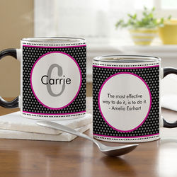 Personalized Polka Dot Initial Coffee Mug with Black Handle
