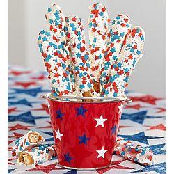 Patriotic Dipped Pretzel Rods Gift Pail