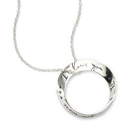 Sterling Silver I Love You More Mobius Necklace