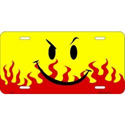 Smiley Flame License Plate