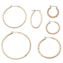 Gold-Plated Textured Hoop Earring Set