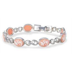 Sterling Silver Floral Cameo Bracelet