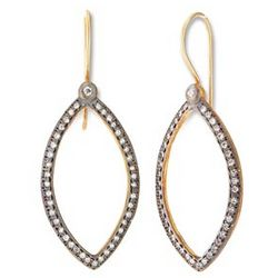 Cubic Zirconia Pave Elongated Oval Earrings