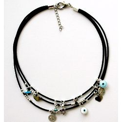 Triple Leather Necklace with Multiple Charms