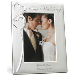 Personalized Crystal Studded Silver Wedding/Anniversary Frame