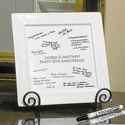 Personalized Signature Square Platter, Pen and Easel Set