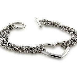 Tiffany Style Ten Strand Heart Chains Silver Bracelet