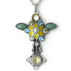 Le Jardin Cross Pewter Pendant Necklace