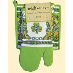 Irish Weave Shamrock Oven Mitt and Pot Holder Set