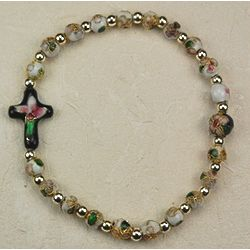 White Cloisonne Bracelet with Cross
