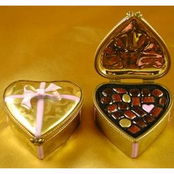 Gold Heart with Chocolates Limoges Box