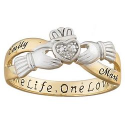 Personalized Two-Tone Couple's Claddagh Name Ring