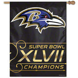 Baltimore Ravens Super Bowl XLVII Champions Vertical Flag