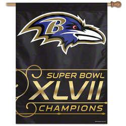 Baltimore Ravens Super Bowl XLVII Champions Vertical Flag