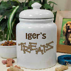 Personalized Ceramic Dog Bone Treat Jar