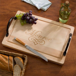 Personalized Family Name Maple Cutting Board with Handles