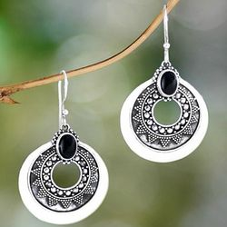 Balinese Timiang Sterling Silver and Onyx Earrings