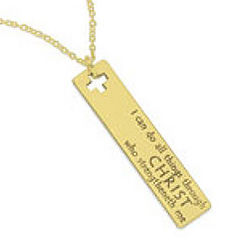 14 Kt Gold Philippians 4:13 Necklace