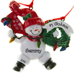#1 Godson Red Snowman with Wreath Lights Personalized Ornament