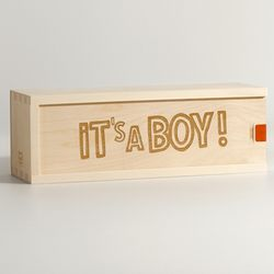 It's a Boy Personalized Wine Box