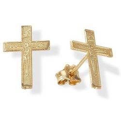 14 Karat Gold Inri Crucifix Earrings